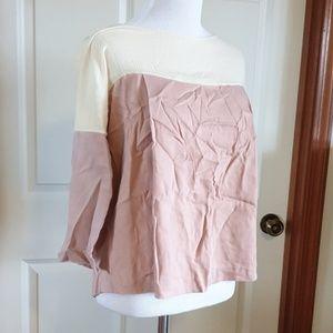 ELIZABETH AND JAMES color block pink cream blouse